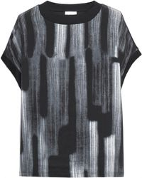 DKNY - Printed Silk Crepe De Chine And Cotton And Modal-blend Top - Lyst