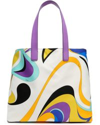 Emilio Pucci - Leather-trimmed Printed Satin Tote - Lyst