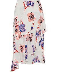 Diane von Furstenberg - Ruffled Floral-print Silk Wrap Midi Skirt - Lyst
