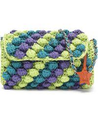 M Missoni - Leather-trimmed Color-block Crochet-knit Shoulder Bag - Lyst