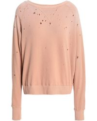 LNA - Woman Distressed French Cotton-terry Sweatshirt Antique Rose - Lyst