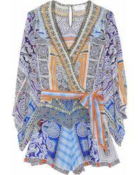 Camilla - Wrap-effect Crystal-embellished Printed Silk Playsuit - Lyst