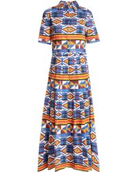 Stella Jean - Pleated Printed Cotton-blend Midi Dress - Lyst