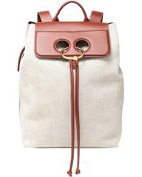 JW Anderson - Woman Pierce Two-tone Leather-paneled Canvas Backpack Beige Size -- - Lyst