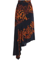 Peter Pilotto - Asymmetric Embroidered Silk-crepe Skirt Midnight Blue - Lyst