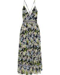 Marissa Webb - Woman Deanna Pleated Floral-print Silk-chiffon Midi Dress Black - Lyst