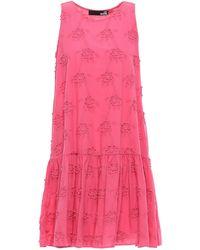 Love Moschino Floral-embroidered Cotton Mini Dress Fuchsia - Pink