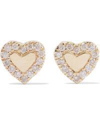 Carbon & Hyde - Heart 14-karat Gold Diamond Earrings - Lyst