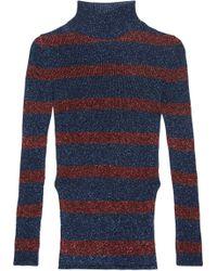 Cedric Charlier - Striped Metallic Ribbed-knit Turtleneck Sweater - Lyst