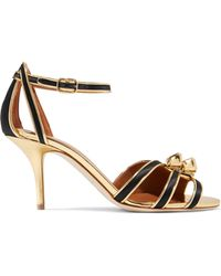 Malone Souliers - Eunice Metallic Leather-trimmed Satin Sandals - Lyst