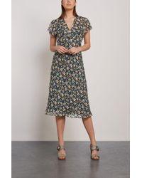 048665c187 Anna Sui - Floral-print Silk-georgette Midi Dress Chocolate - Lyst