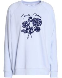 Sandro - Embroidered French Cotton-blend Terry Sweatshirt Sky Blue - Lyst
