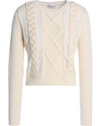 RED Valentino - Tulle-trimmed Ribbed And Cable-knit Wool Sweater - Lyst