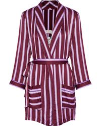 Love Stories - Ritz Embroidered Striped Satin Robe - Lyst