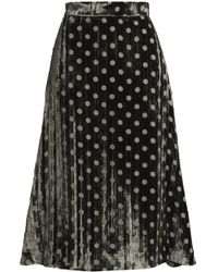 House of Holland - Pleated Polka-dot Devoré-chiffon Midi Skirt Army Green - Lyst