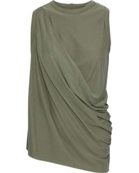 Rick Owens Lilies - Woman Asymmetric Draped Jersey Tank Grey Green - Lyst