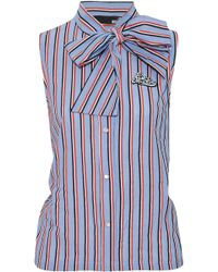Love Moschino - Pussy-bow Appliquéd Striped Cotton-poplin Top - Lyst