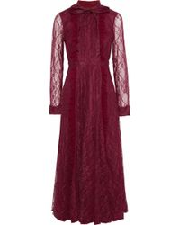 Mikael Aghal - Woman Pussy-bow Ruffle-trimmed Lace Midi Dress Claret - Lyst