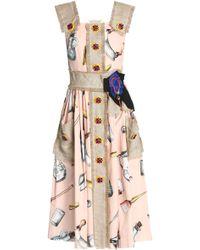 Dolce & Gabbana - Canvas-trimmed Embellished Printed Cotton-blend Midi Dress Pastel Pink - Lyst
