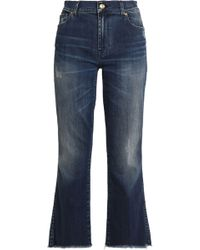 7 For All Mankind - Distressed Faded Mid-rise Bootcut Jeans - Lyst