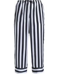 DKNY - Woman Cropped Striped Crepe Pajama Pants Midnight Blue Size Xs - Lyst