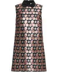 RED Valentino - Faux Leather-trimmed Metallic Jacquard Mini Dress - Lyst