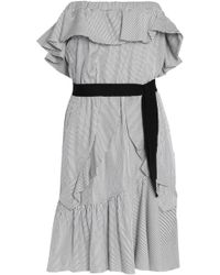 Maje - Off-the-shoulder Ruffled Striped Mini Dress - Lyst