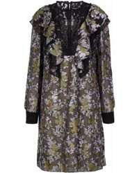 Lanvin - Lace-paneled Ruffled Brocade Dress - Lyst