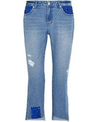 Steve J & Yoni P - Woman Distressed Embellished Low-rise Straight-leg Jeans Light Denim - Lyst