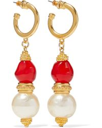 Ben-Amun - 24-karat Gold-plated, Stone And Faux Pearl Earrings - Lyst