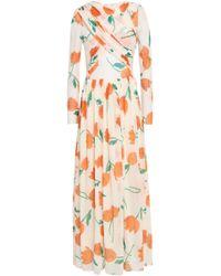 Ganni - Tilden Crossover Floral-print Mesh Maxi Dress Ivory - Lyst