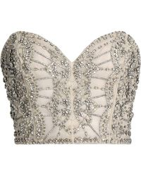 Rachel Gilbert - Strapless Cropped Embellished Organza Top - Lyst