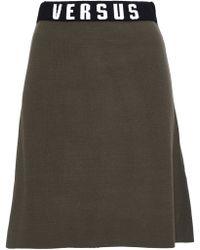 Versus - Jacquard Knit-trimmed Stretch-knit Mini Skirt Army Green - Lyst
