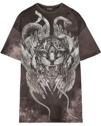Balmain - Oversized Distressed Printed Cotton-jersey T-shirt - Lyst