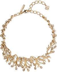Oscar de la Renta - Seaweed Gold-tone Crystal Necklace - Lyst