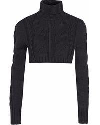 Balmain - Cropped Cable-knit Merino Wool Turtleneck Sweater - Lyst