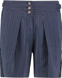 Roberto Cavalli | Pleated Pinstriped Silk-blend Shorts | Lyst