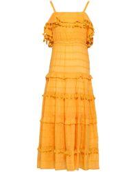 Nicholas - Woman Embroidered Cotton And Silk-blend Mousseline Midi Dress Saffron - Lyst