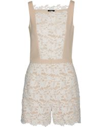 Raoul - Jessenia Crepe-trimmed Guipure Lace Playsuit - Lyst