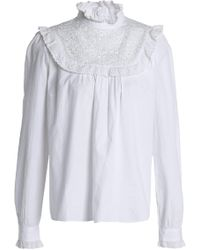 Needle & Thread - Ruffle-trimmed Embroidered Cotton Blouse Off-white - Lyst