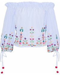 Raoul - Off-the-shoulder Embroidered Striped Cotton Blouse - Lyst