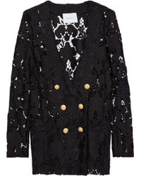Balmain - Double-breasted Guipure Lace Jacket - Lyst