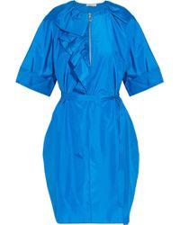 Nina Ricci - Ruffle-trimmed Silk-poplin Dress Cobalt Blue - Lyst