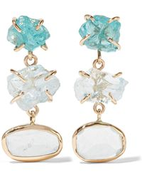 Melissa Joy Manning | 14-karat Gold, Aquamarine And Apatite Earrings | Lyst