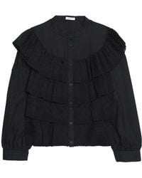 Vilshenko - Ruffled Tiered Lace And Textured-cotton Blouse - Lyst