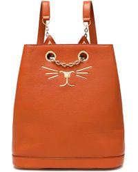 Charlotte Olympia - Chain-embellished Appliquéd Textured-leather Backpack - Lyst