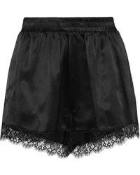 Fleur du Mal - Margo Lace-trimmed Satin Pajama Shorts - Lyst