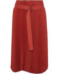 Brunello Cucinelli - Belted Pleated Gauze Skirt - Lyst