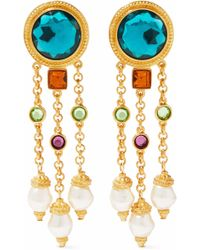 Ben-Amun - 24-karat Gold-plated, Swarovski Crystal And Faux Pearl Clip Earrings - Lyst