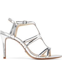 lyst miss kg erin glitter mirrored heel sandals in metallic White and Gold Heels recently sold out